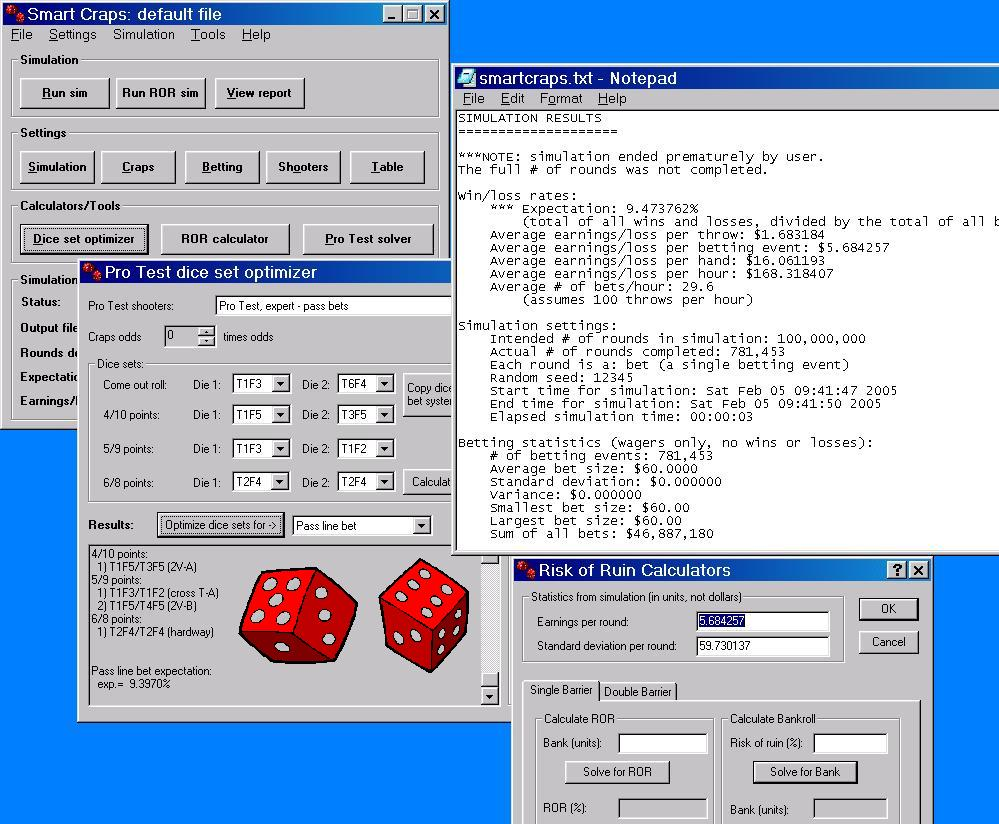 enhance your dice control skills for casino craps computer smart craps screen shot